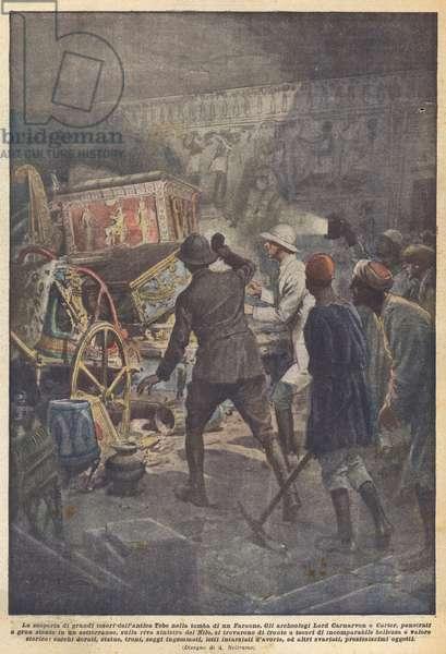 La scoperta di grandi tesori dell'antica Tebe nella tomba di un Faraone (colour litho)