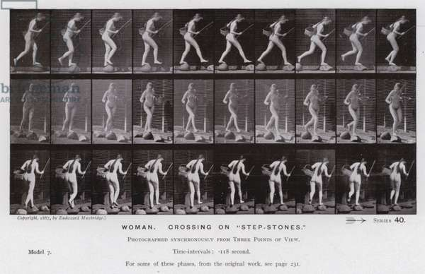"""The Human Figure in Motion: Woman, crossing on """"step-stones"""" (b/w photo)"""