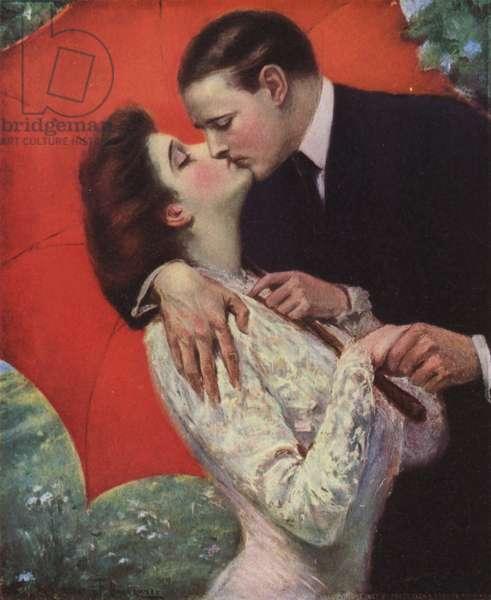Lovers kissing (colour litho)