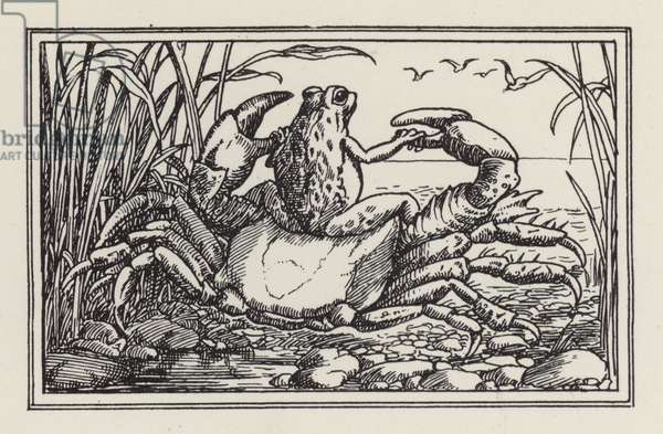 Another Book of Verses for Children: Crab and frog (litho)