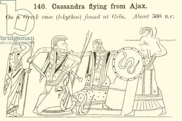 Cassandra flying from Ajax (engraving)