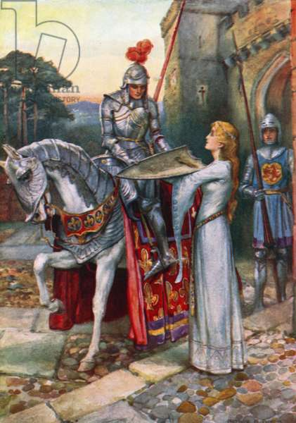 Sir Lancelot gives his Shield into Elaine's Keeping (colour litho)