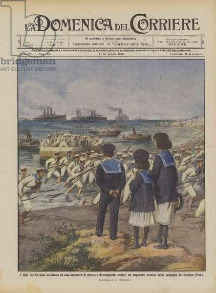 I figli dei Sovrani assistono ad una manovra di sbarco e di conquista contro un supposto nemico … (colour litho)