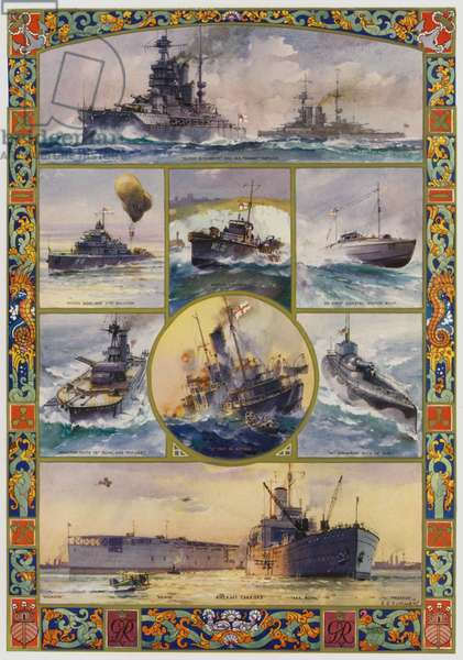 Types of British warships brought into being by the First World War (colour litho)