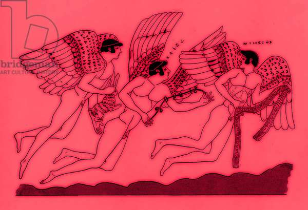 Three winged love gods, illustration from 'Greek Vase Paintings' by J. E. Harrison and D. S. MacColl, published 1894 (digitally enhanced image)