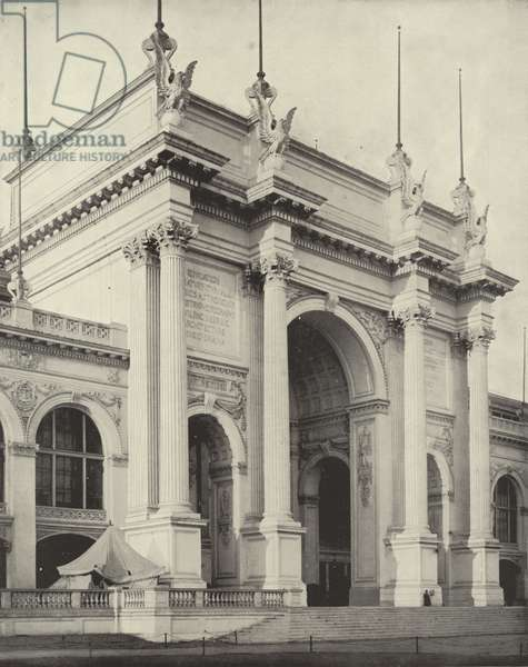 Portal of the Great Manufactures Building (b/w photo)