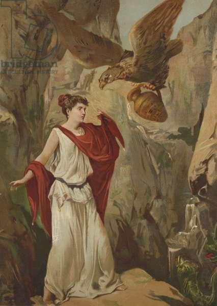 The eagle of Zeus helping Psyche (chromolitho)