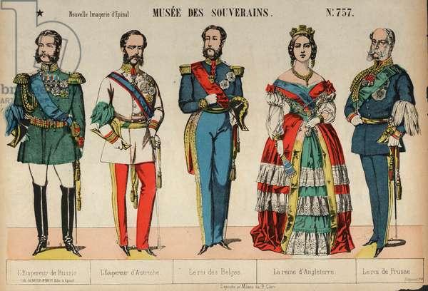 European royalty (coloured engraving)