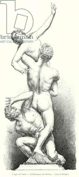 Loggia dei Lanzi, L'Enlevement des Sabines, Jean de Bologne (engraving)