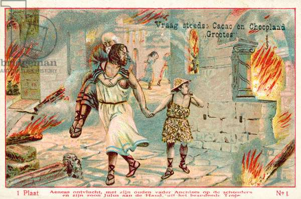 Aeneas flees the burning city of Troy, carrying his aged father Anchises on his shoulders and leading his son Julus by the hand (chromolitho)