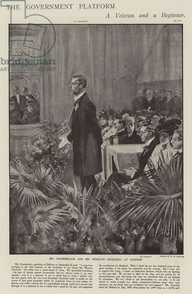 Joseph Chamberlain speaking on behalf of Conservative candidates Winston Churchill and Charles Crisp at Oldham, Lancashire, during the 1900 General Election campaign (litho)