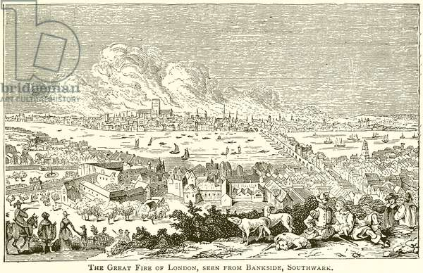 The Great Fire of London, seen from Bankside, Southwark (engraving)