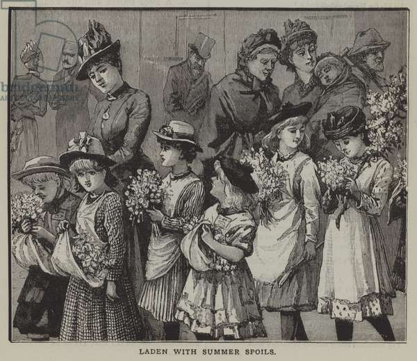Laden with summer spoils: a group of city children after a summer trip to the countryside (engraving)