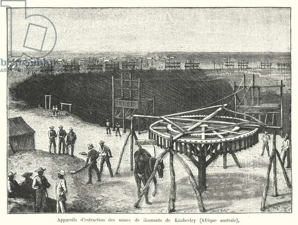 Diamond mines of Kimberley, Cape of Good Hope, South Africa (engraving)