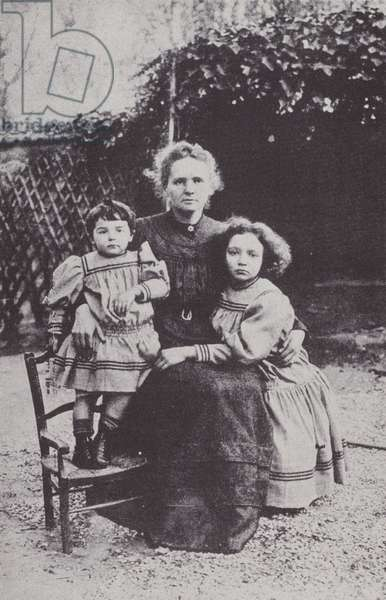 Marie Curie and her two daughters, Eve and Irene, in 1908 (b/w photo)