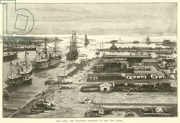 Port Said, the Northern Entrance to the Suez Canal (engraving)