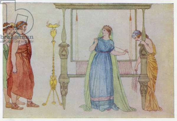Penelope surprised by the Suitors (colour litho)