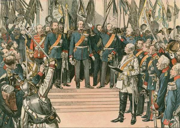 Wilhelm I, King of Prussia and first German Emperor (1797-1888), is recognised as the Kaiser of the newly united German Empire at the Treaty of Versailles in 1871 (colour litho)