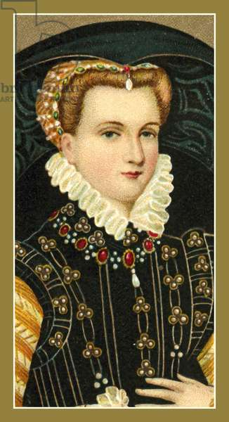 Mary, Queen of Scots, 1542-1587, Enamel on Copper, by Henry Bone (colour litho)