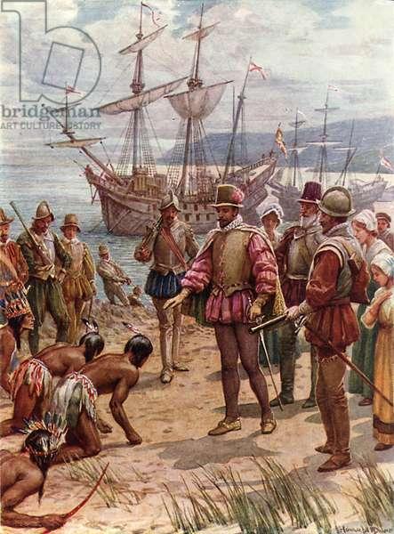 Sir Walter Raleigh landing in Virginia (colour litho)