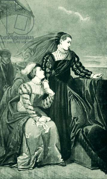Mary Queen of Scots bids Adieu to France (litho)