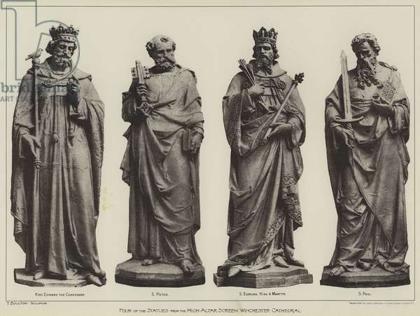 Four of the Statues from the High Altar Screen, Winchester Cathedral (b/w photo)