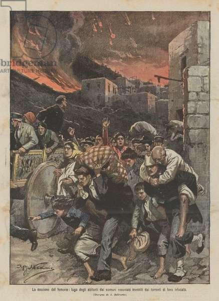 La eruzione del Vesuvio, fuga degli abitanti dai comuni vesuviani investiti dai torrenti di lava infocata (colour litho)