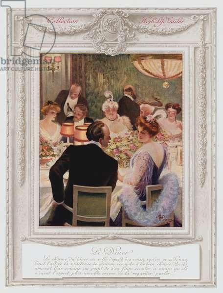 Belle Epoque Paris, Fashionable lady having dinner (colour litho)