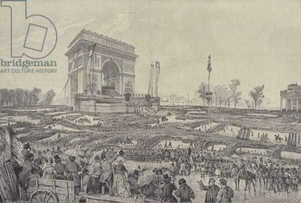 Festival of fraternity in front of the Arc de Triomphe on the Place de l'Etoile, Paris, 20 April 1848 (litho)
