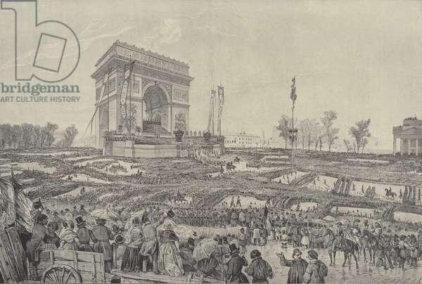 Festival of fraternity in front of the Arc de Triomphe on the Place de l'Etoile, Paris, 20 April 1848 (litho)