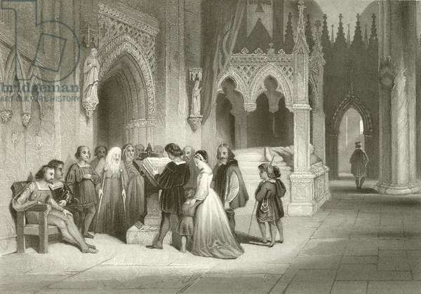 Reading the Bible in the Crypt of St Paul's (engraving)