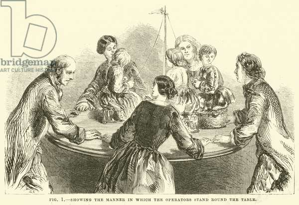 Showing the manner in which the operators stand round the table (engraving)