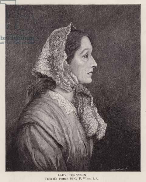 Portrait of Emily Tennyson, Lady Tennyson, wife of English Poet Laureate Alfred, Lord Tennyson (litho)