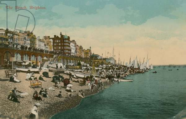 The Beach, Brighton. Postcard sent in 1913.