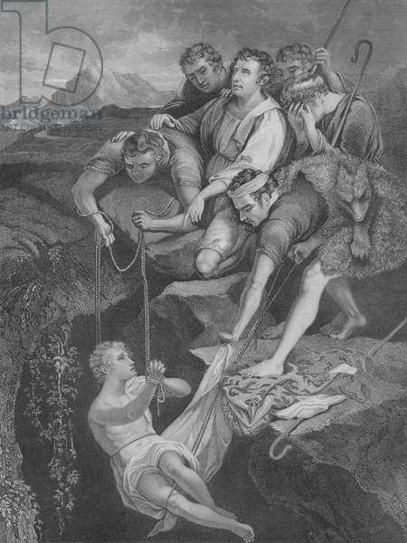 Joseph cast into the Pit, Genesis 37, Verse 3-25 (engraving)