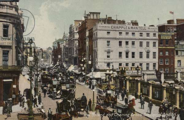 The Strand and Charing Cross Station, London (coloured photo)