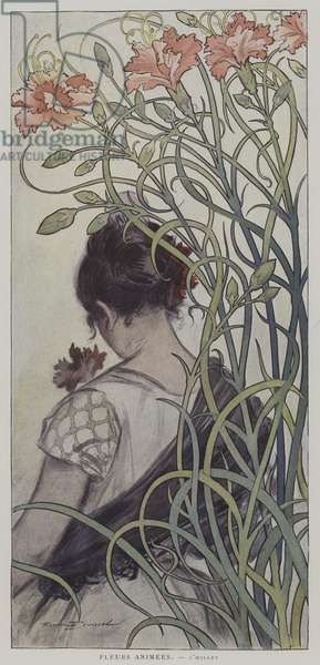 Fleurs Animees. L'Oeillet. (Animated Flowers: the Carnation) (colour litho)