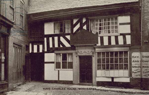 King Charles' House, Worcester, Worcestershire, where King Charles II stayed before the Battle of Worcester in 1651 (b/w photo)