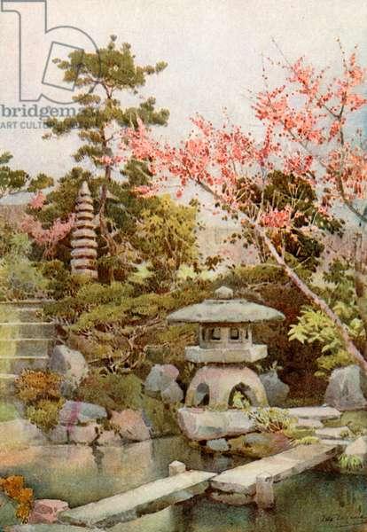 An Old Garden (colour litho)