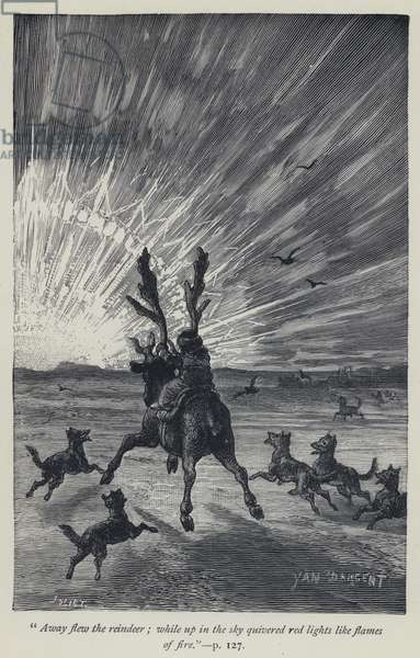 """""""Away flew the reindeer, while up in the sky quivered red lights like flames of fire"""" (engraving)"""