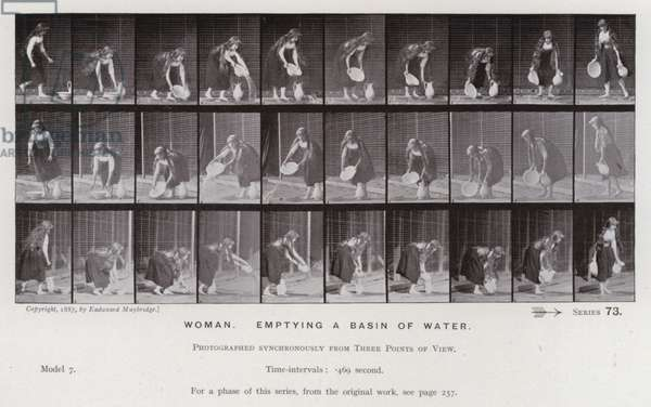 The Human Figure in Motion: Woman, emptying a basin of water (b/w photo)