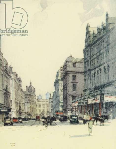 Glasgow: Gordon Street and Central Station (colour litho)