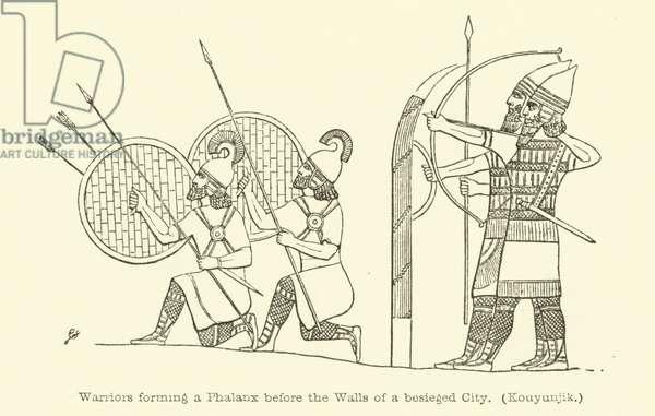 Warriors forming a phalanx before the walls of a besieged city (Kouyunjik) (engraving)