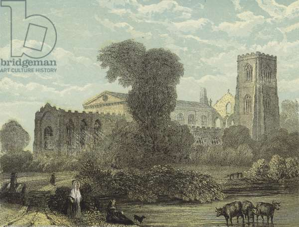 Llandaff Cathedral, North East View (coloured engraving)