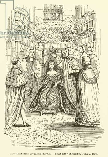 The coronation of Queen Victoria, from the Observer, 2 July 1838 (engraving)
