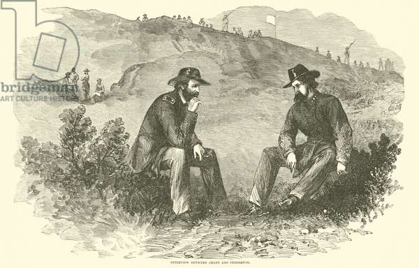 Interview between Grant and Pemberton, July 1863 (engraving)