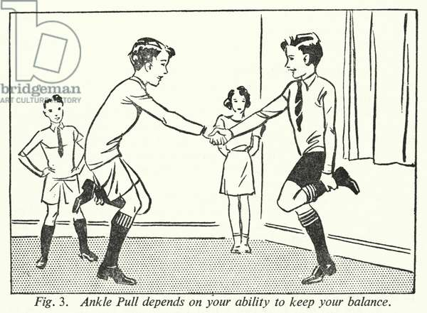 Ankle Pull depends on your ability to keep your balance (litho)
