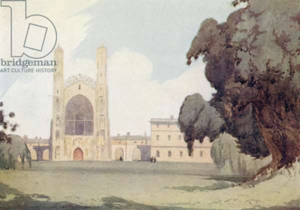 Cambridge: King's College from the Backs (colour litho)