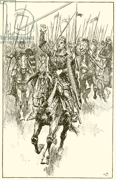 Normans charging at the Battle of Hastings (engraving)