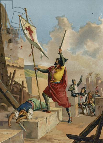 Godfrey of Bouillon, Frankish knight and crusader, 11th Century (chromolitho)